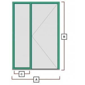 hardhouten deurkozijn met zijraam links