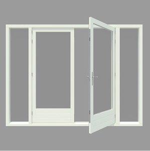 Hardhouten achterpui (zijlichten) inclusief deuren WK042